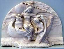 Félicie de Fauveau: Relief provenant du monument au Baron Antoine-Jean Gros et à sa femme Augustine Dufresne, 1837. Marbre - 54 x 73 x 20 cm. Toulouse, Musée des Augustins