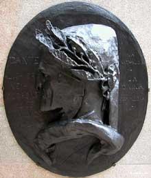 Auguste Préault: Dante Alighieri. 1853. Haut relief en bronze, 86 x 95 cm. Paris, Musée d'Orsay
