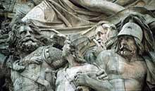 François Rude: le départ des volontaires, détail. Pierre. Paris, Arc de Triomphe de l'étoile