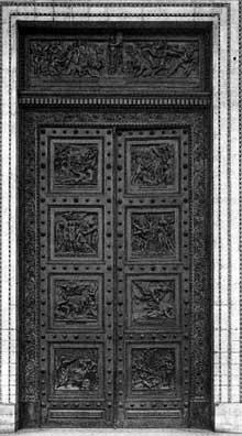 Henri de Triqueti (1803-1874): Les dix commandements, portes de l'église de La Madeleine. Bronze. Paris, Eglise de La Madeleine