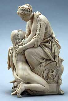Henri de Triqueti (1803-1874). La Miséricorde Divine accueillant le Repentir. Ivoire - 34 x 13 x 18 cm. France, collection particulière