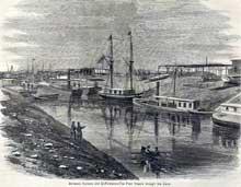 Le canal de Suez à El Kantara peu après son creusement