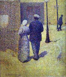 Charles Angrand: couple dans la rue. 1887. Huile sur toile, 39 × 32 cm. Paris, Musée d'Orsay