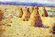 Charles Angrand: meules en Normandie. Huile sur toile, 16 x 23,5 cm. Paris, Musée d'Orsay