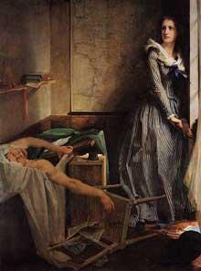 Paul Jacques Aimé Baudry: l'assassinat de Marat. 1860. Huile sur toile. Nantes, Musée des beaux Arts