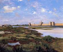 Frédéric Bazille: les remparts d'Aigues-Mortes. 1867. Huile sur toile. 55 x 46. Montpellier, Musée Fabre.