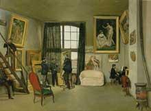 Frédéric Bazille: L'Atelier de la rue La Condamine. 1870. Huile sur toile, 98 cm x 128 cm. Paris, musée d'Orsa