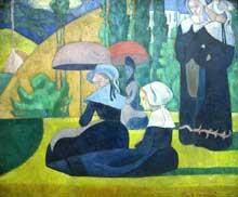 Emile Bernard: les Bretonnes aux ombrelles. 1892. Huile sur toile, 105 cm x 81 cm. Paris, musée d'Orsay.