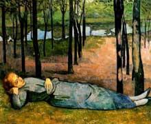 Emile Bernard: Madeleine dans le bois d'amour. 1888. Huile sur toile, 137 x 164 cm. Paris, musée d'Orsay