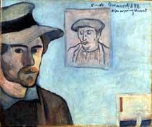 Emile Bernard: autoportrait avec le portrait de Paul Gaugin. 1888. Huile sur toile, 55 x 46 cm. Paris, musée d'Orsay