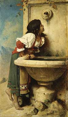 Léon Bonnat: jeune romaine à la fontaine. 1875. New York, Metropolitan Museum