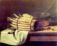 François Bonvin: Nature morte aux asperges. 1867. Huile sur toile, 65 × 81,5 cm. Amsterdam, Rijksmuseum Kröller-Müller