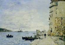Eugène Boudin: La Rade de Villefranche, vue du quai de la Marine. 1892. Huile sur toile, 40 x 56 cm. Collection  privée