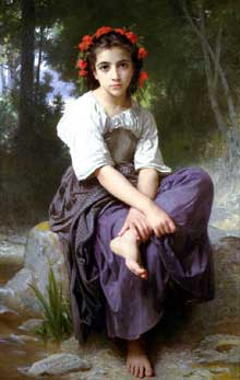 William Bouguereau : au bord du ruisseau. 1875