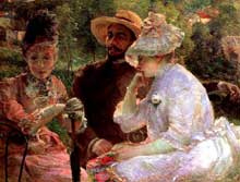 Marie Bracquemond: Sur la terrasse à Sèvres (La terrasse de la villa Brancas). 1880. Huile sur toile, 88 x 115 cm. Genève, Petit Palais