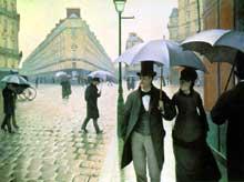 Gustave Caillebotte: Paris par temps de pluie, quartier des Batignolles. 1877. Huile sur toile, 212.2 x 276.2 cm. Chicago, The Art Institute