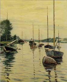 Gustave Caillebotte: Bateaux à l'ancre sur la Seine. 1890. Huile sur toile, 65 cm x 55 cm. Collection  privée