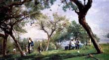 Adolphe Cals: ferme à Saint Simon, Honfleur. 1876. Huile sur toile, 36 x 62.5 cm. Philadelphia Museum of Art