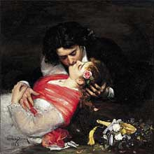 Carolus Duran: Le Baiser. Autoportrait de l'artiste et de sa femme en nouveaux mariés. 1868. Lille, Palais des Beaux Arts.