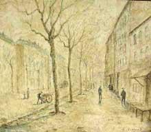 Louis Hilaire Carrand: promenade en hiver à Lyon. Huile sur toile, 37 x 45 cm