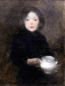 Eugène Carrière: l'enfant à la soupière.1885. Huile sur toile, 51 x 69 cm. Paris, musée d'Orsay