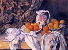 Paul Cézanne: Nature morte au rideau. 1895. Huile sur toile. Saint-Pétersbourg, Musée de l'Hermitage