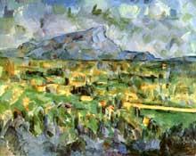 Paul Cézanne: la montagne sainte Victoire. 1904-1906. Huile sur toile, 65 x 81 cm. Philadelphie, collection particulière