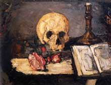Paul Cézanne: nature morte au crâne et chandelier. 1866. Huile sur toile, 47.5 x 62.5 cm. Collection particulière, Suisse