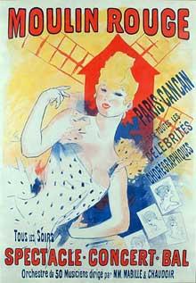 Jules Chéret: affiche pour le cancan, Moulin Rouge. 1890
