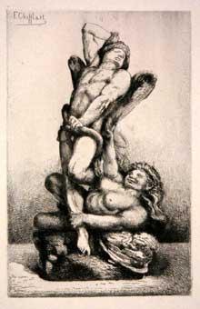François Chifflart: Les liens du mal. Eau forte, 1875