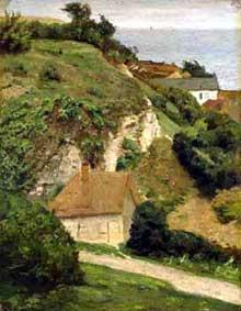 Antoine Chintreuil: maison sur les falaises près de Fécamp. Huile sur toile. Londres, National Gallery