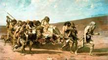 Fernand Cormon: Caïn fuyant avec sa famille. 1880. Huile sur toile. Paris, Musée d'Orsay