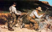 Gustave Courbet: les casseurs de pierre. 1849. Huile sur toile, 159x259 cm, oeuvre détruite durant la seconde guerre mondiale