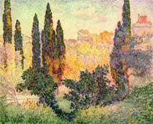 Henri Edmond Cross: cyprès à Cagnes. 1910. Huile sur toile, 80 x 100 cm. Paris, Musée National d'Art Moderne