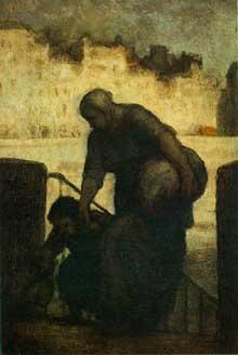 Honoré Daumier: Laveuse au Quai d'Anjou . Vers 1860. Huile sur panneau de bois, 28.5 x 19.7 cm. Buffalo, Albright-Knox Art Gallery