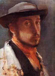 Edgar Degas: Autoportrait au chapeau mou.1857-1858. Sterling and Francine Clark Art Institute, Williamstown, Massachusetts