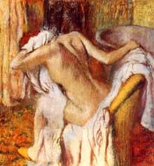 Edgar Degas: Après le bain, femme s'essuyant. 1890. Pastel sur papier. 104 x 98,5 cm. Londres, National Gallery