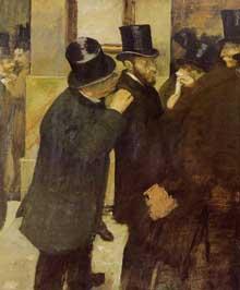Edgar Degas: Portraits à la Bourse. 1878-1879. Huile sur toile, 100 cm x 82 cm. Paris, musée d'Orsay