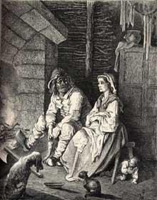 Gustave Doré: le petit poucet. Gravure pour les comtes de Perrault