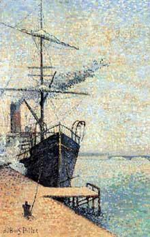Albert Dubois-Pillet: bateau à l'ancre. 1885. Huile sur toile, 40 x 27 cm