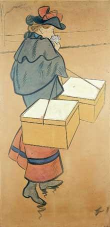 Jean Louis Forain: le Trottin de Paris. 1895. Lavis, aquarelle et gouache, 168 x 83 cm. Genève, Petit Palais