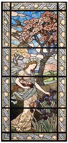 Félix Gaudin: «Le printemps». Vitrail sur carton de  Eugène Grasset (1845-1917. Paris, 1894. Verre et plomb, 294 x 132 cm