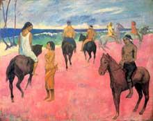Paul Gauguin: Cavaliers sur la plage. 1902. Huile sur toile, 73 x 92 cm. Collection Stavros Niarchos
