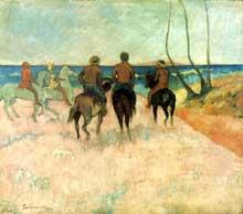 Paul Gauguin: Cavaliers sur la plage. 1902. Huile sur toile, 66 x 76 cm. Essen, Folkwang Museum