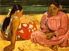Paul Gauguin: Femmes de Tahiti (Sur la plage). 1891. Huile sur toile, 69 x 91 cm. Paris, Musee d'Orsay