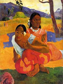 Paul Gauguin: Nafea foa ipoipo (Quand nous marions nous?). 1892. Huile sur toile. Bâle, Kunstmuseum