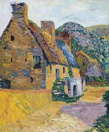 Léo Gausson: coin de ferme au soleil. Vers 1900. Huile sur toile