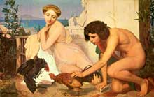 Léon Gérôme: Le combat de coqs. 1847. Paris, Musée d'Orsay