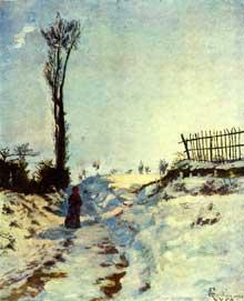 Armand Guillaumin: chemin creux, effet de neige. 1869. Huile sur toile, 66 x 55 cm. Paris, Musée d'Orsay