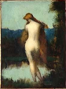 La Fée aux rochers - Nymphe debout, de dos se mirant dans l'eau. 1902. Huile, 25 x 19 cm. Paris, musée Jean-Jacques Henner.